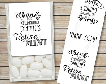 "Retirement Party Tic Tac Labels, Custom Retire MINT Stickers, Tic Tacs Labels, MInts, 1-1/3x4"" PRINTABLE Stickers, Print As Many As You Need"