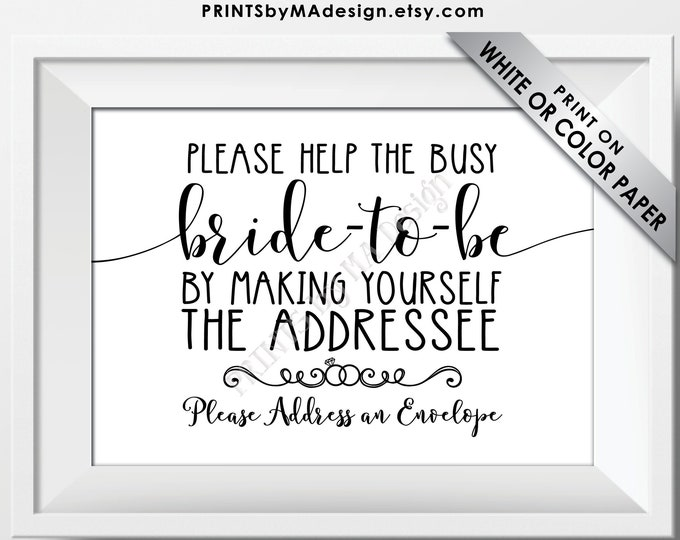 "Bridal Shower Address an Envelope Sign, Help the Busy Bride-to-Be by Being the Addressee Sign, B&W PRINTABLE 5x7"" Bridal Shower Sign <ID>"