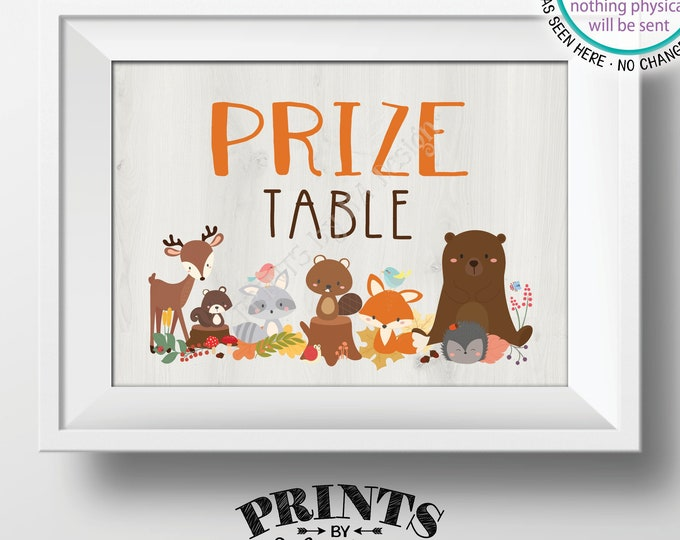 """Prize Table Sign, Woodland Baby Shower Prize Sign, Woodland Animals, Forest Friends Baby Shower Decor, PRINTABLE 5x7"""" Baby Shower Sign <ID>"""