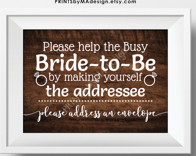 "Bridal Shower Address an Envelope Sign, Help the Busy Bride-to-Be by being the Addressee, PRINTABLE 5x7"" Rustic Wood Style Sign <ID>"