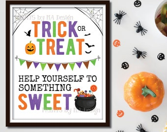 """Trick or Treat Help Yourself to Something Sweet Treat Sign, Please Take Halloween Candy, Cauldron Bucket, PRINTABLE 8x10/16x20"""" Sign <ID>"""