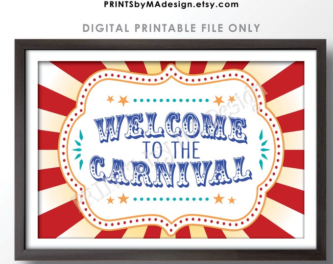 """Welcome to the Carnival Sign, Carnival Theme Party, PRINTABLE 24x36"""" Carnival Welcome Sign <ID>"""