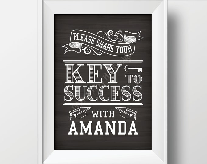 "Key to Success Graduation Sign, Graduation Advice, Grad Advice for Grad Sign, Custom Name PRINTABLE Chalkboard Style 5x7"" Sign, Digital File"