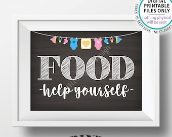 "Food Sign, Help Yourself, Buffet Sign, Appetizers, Baby Shower Decorations, Neutral Clothesline, PRINTABLE 5x7"" Chalkboard Style Sign <ID>"