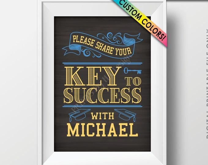 "Key to Success Graduation Sign, Graduation Advice, Grad Advice for Grad Sign, Custom Name & Colors PRINTABLE Chalkboard Style 5x7"" Sign"