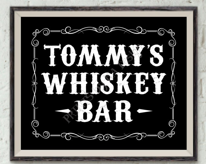 """Whiskey Bar Sign, Alcohol Sign, Aged to Perfection, Better with Age, Retirement, His Birthday, Man Cave, Custom PRINTABLE 8x10"""" Whiskey Sign"""