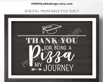 """Graduation Party Pizza Sign, Thank You for being a Pizza my Journey, PRINTABLE 24x36"""" Chalkboard Style PIzza Sign <ID>"""