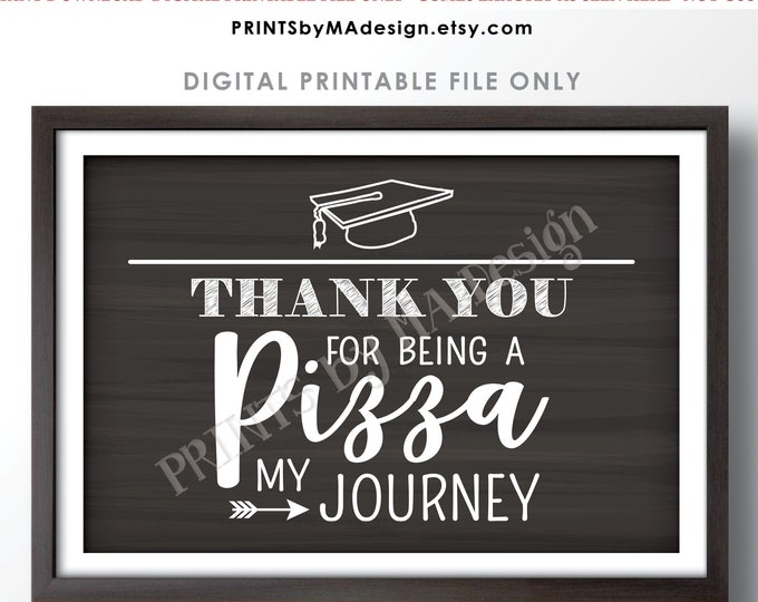 "Graduation Party Pizza Sign, Thank You for being a Pizza my Journey, PRINTABLE 24x36"" Chalkboard Style PIzza Sign <ID>"