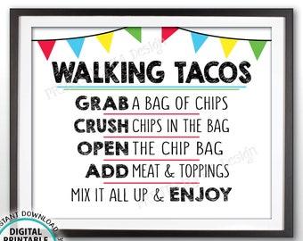 "Walking Tacos Sign, Taco Bar Sign, Taco Station, Cinco de Mayo, Sweet Sixteen Birthday, Graduation Party, PRINTABLE 8x10"" Taco Sign <ID>"