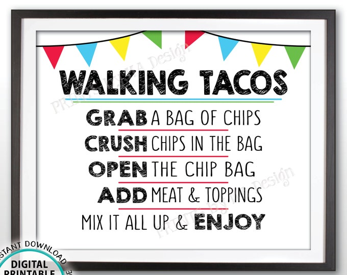 "Walking Tacos Sign, Taco Bar Sign, Taco Station, Cinco de Mayo, Sweet Sixteen Birthday, Graduation Party, PRINTABLE 8x10"" Taco Sign <ID>"