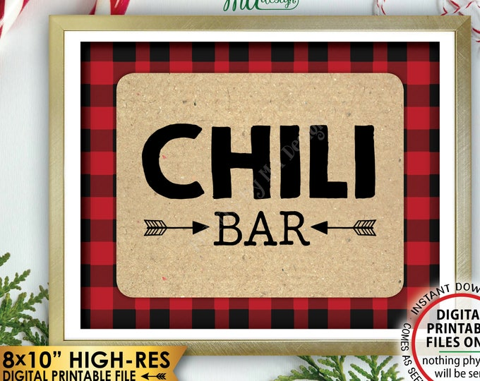"Lumberjack Chili Bar Sign, Buffalo Plaid Chili Station Sign, Red Checker Christmas Decorations, PRINTABLE 8x10"" Instant Download Chili Sign"