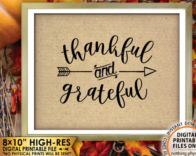 "Thankful and Grateful Sign Thanksgiving Wall Decor Fall Decor Blessing Autumn Decor, Brown Paper Style PRINTABLE 8x10"" Instant Download Sign"