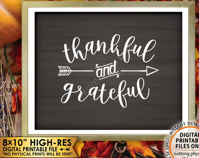 "Thankful and Grateful Sign Thanksgiving Wall Decor, Fall Decor Blessing Autumn Decor, Chalkboard Style PRINTABLE 8x10"" Instant Download Sign"