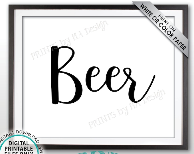 """Beer Sign, Beverage Station, Drinks Sign, Wedding Bar Display, Birthday Party, Anniversary Celebration, PRINTABLE 8x10"""" Beer Sign <ID>"""