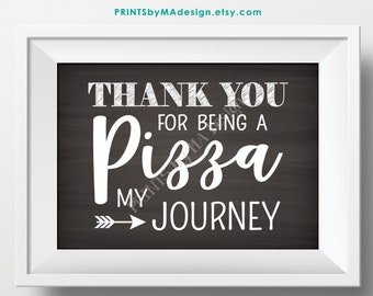 """Pizza Sign, Thank You for being a Pizza my Journey, Graduation, Retirement, Adventure, PRINTABLE 5x7"""" Chalkboard Style Pizza Party Sign <ID>"""