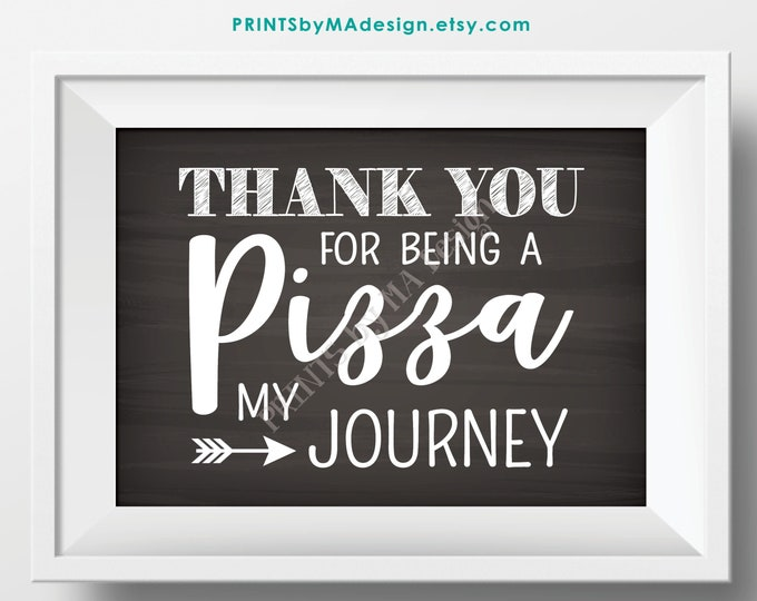 "Pizza Sign, Thank You for being a Pizza my Journey, Graduation, Retirement, Adventure, PRINTABLE 5x7"" Chalkboard Style Pizza Party Sign <ID>"