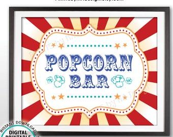 "Carnival Popcorn Bar Sign, Circus Popcorn Station, Carnival Food, PRINTABLE 8x10/16x20"" Carnival Popcorn Sign <ID>"