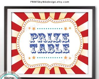 """Carnival Prize Table Sign, Carnival Party Prizes Sign, Circus, Birthday Party, Festival Activities, PRINTABLE 8x10/16x20"""" Prize Sign <ID>"""
