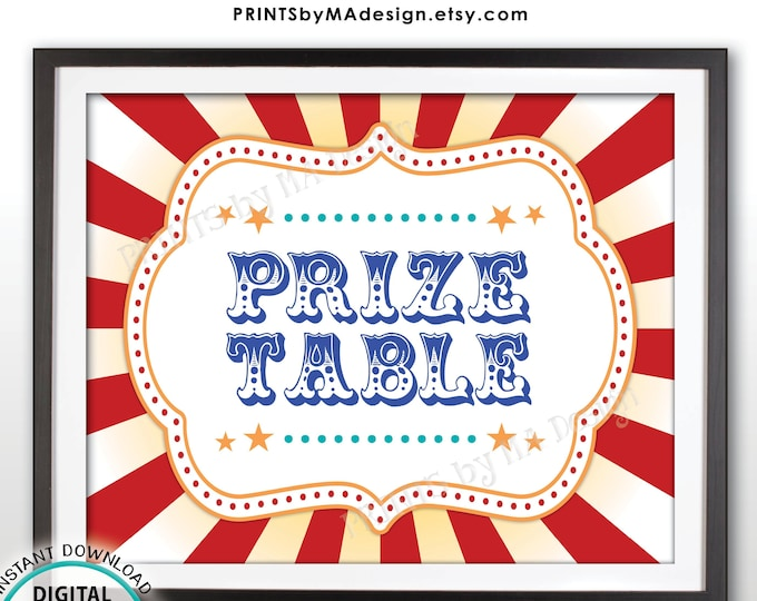 "Carnival Prize Table Sign, Carnival Party Prizes Sign, Circus, Birthday Party, Festival Activities, PRINTABLE 8x10/16x20"" Prize Sign <ID>"