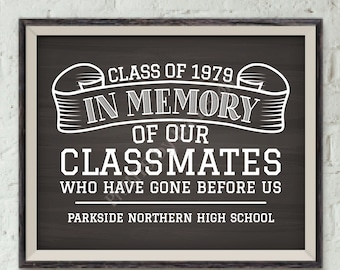 """In Memory Sign for Reunion Memorial, In Memoriam of the Classmates Who Have Gone Before Us, PRINTABLE Chalkboard Style 8x10"""" Memory Sign"""