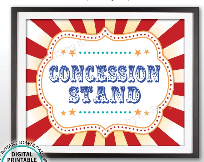 "Carnival Party Concession Stand Sign, Concessions Carnival Sign, Circus Food, Snacks, Treats, Candy, Drinks, PRINTABLE 8x10/16x20"" Sign <ID>"
