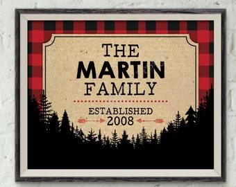 """Family Established Sign, Last Name Family Sign, Personalized Name Sign, Buffalo Plaid, Red Checker PRINTABLE 8x10"""" Lumberjack Style Sign"""