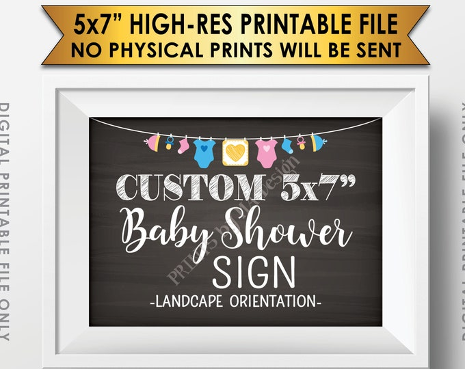 "Custom Baby Shower Sign, Baby Shower Decor, Choose Your Text and the Clothesline Design, Chalkboard Style PRINTABLE 5x7"" Landscape Baby Sign"