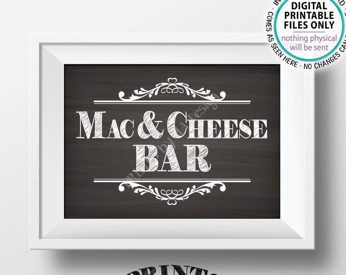 "Mac & Cheese Bar Sign, Build Your Own Bowl of Macaroni and Cheese, Mac And Cheese, Pasta, PRINTABLE 5x7"" Chalkboard Style Mac-N-Cheese Sign"