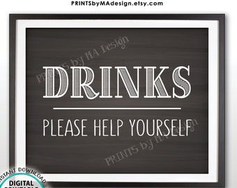 """Drinks Sign, Please Help Yourself to a Beverage Station Sign, PRINTABLE 8x10"""" Chalkboard Style Drink Sign <ID>"""
