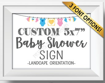 "Custom Baby Shower Sign, Baby Shower Decor, Choose Your Text and the Clothesline Design, PRINTABLE 5x7"" Landscape Sign"