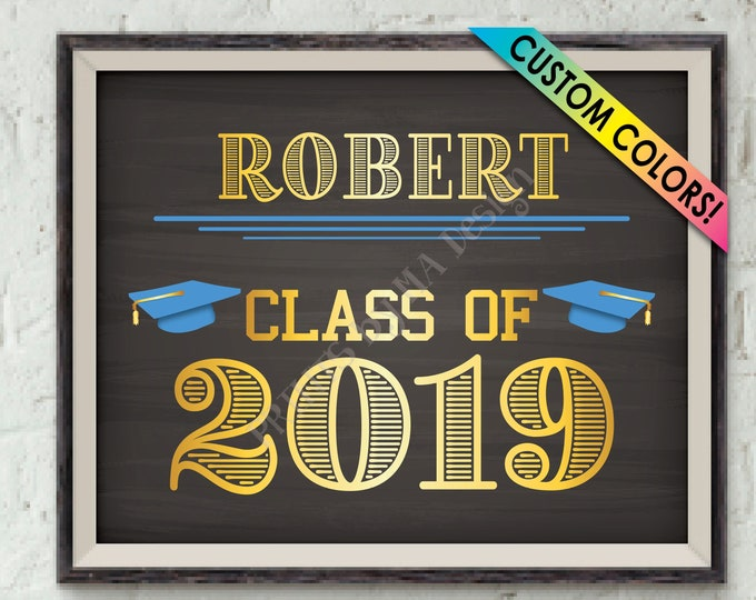 "Class of 2019 Sign, Graduation Party Sign, High School Colors, College Grad Party, Custom PRINTABLE 8x10/16x20"" Chalkboard Style Sign"