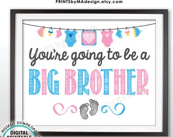 """Pregnancy Announcement, You're Going to be a Big Brother, Pregnant, Expecting Baby Number 2, PRINTABLE 8x10"""" Baby #2 Reveal Sign/Card <ID>"""
