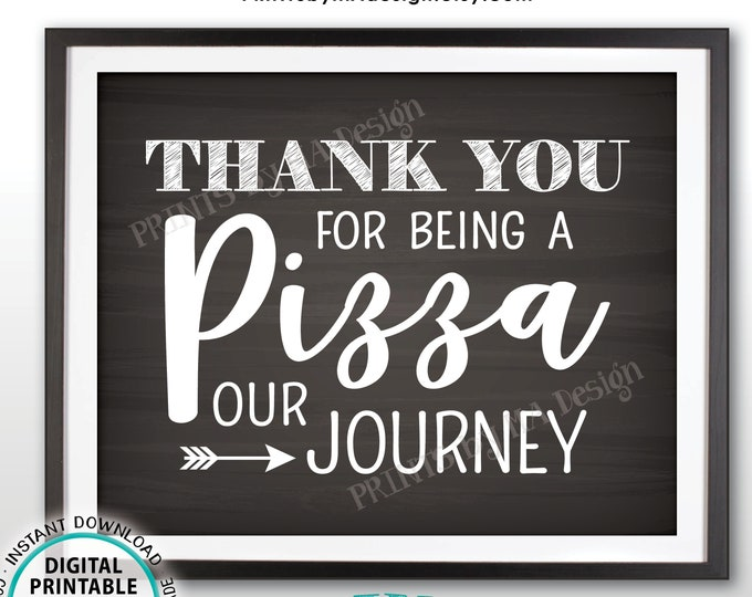 "Pizza Sign, Thank You for Being a Pizza Our Journey, PRINTABLE 8x10"" Chalkboard Style Pizza Party Sign <ID>"