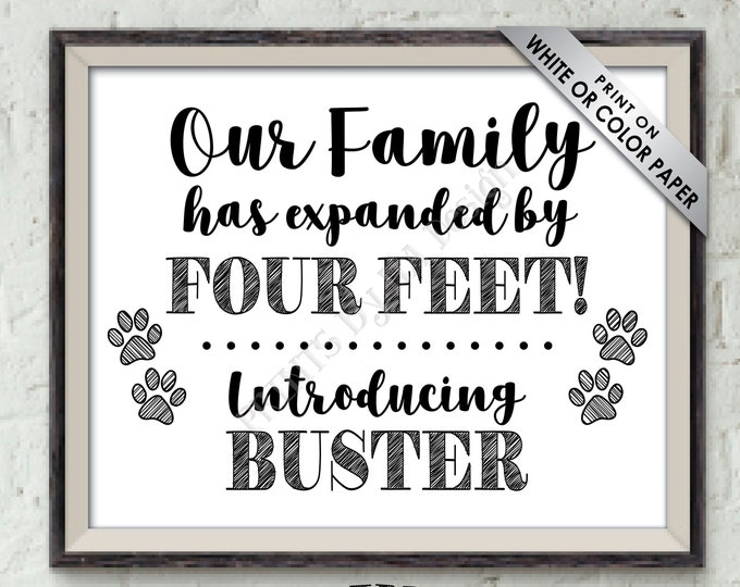 "Introducing Our New Pet Sign, Our Family has Expanded by Four Feet, Puppy Dog Kitten Cat, Pet Reveal, PRINTABLE 8x10/16x20"" Pet Arrival Sign"