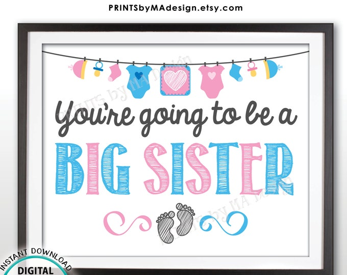 "Pregnancy Announcement, You're Going to be a Big Sister, Pregnant, Expecting Baby Number 2, PRINTABLE 8x10"" Baby #2 Reveal Sign/Card <ID>"