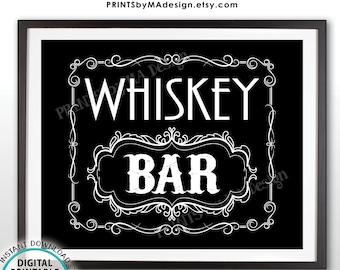 "Whiskey Bar Decor, Whiskey Bar Sign, Better with Age Vintage Whiskey Gift, Whisky Decor, Black & White PRINTABLE 16x20"" Whiskey Sign <ID>"