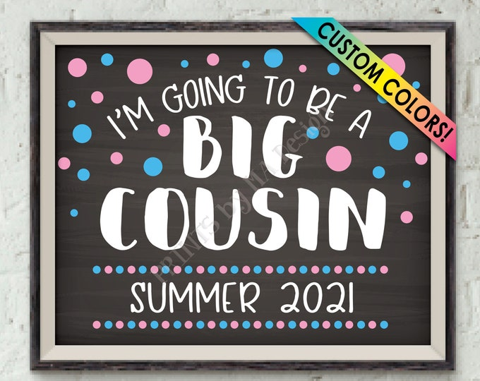 """Cousin Pregnancy Announcement, I'm Going to Be a Big Cousin, Promoted to Big Cousin Promotion, PRINTABLE 8x10/16x20"""" Chalkboard Style Sign"""