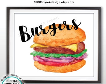 "Burgers Sign, Barbeque Cook Out, PRINTABLE 8x10"" Watercolor Style Burger Sign <ID>"