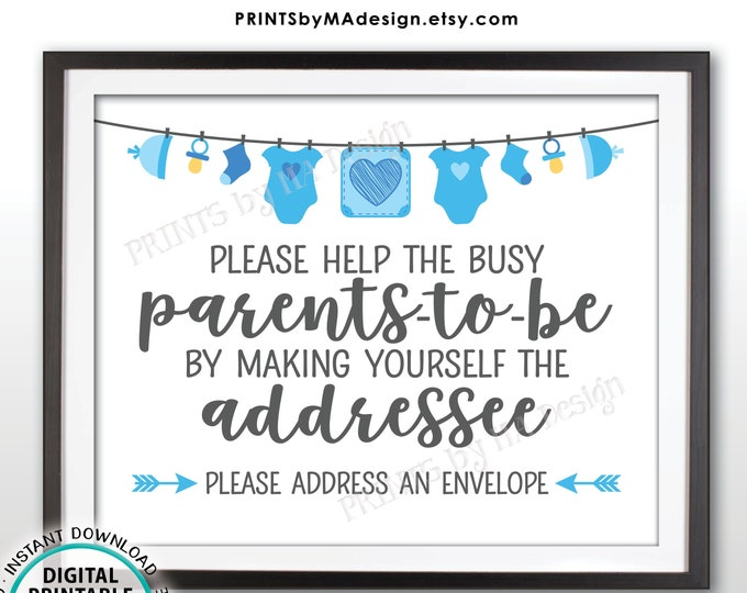 """Baby Shower Address an Envelope Sign, Help the Parents-to-Be Address an Envelope, Blue Baby Shower Decoration Boy, PRINTABLE 8x10"""" Sign <ID>"""