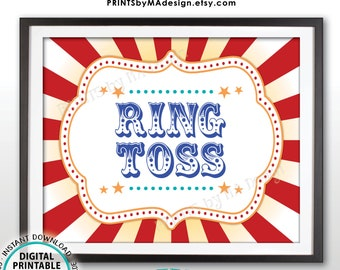 """Carnival Ring Toss Sign, Carnival Party Sign, Circus Games, Circus Party, Circus Activities, Birthday, PRINTABLE 8x10/16x20"""" Game Sign <ID>"""