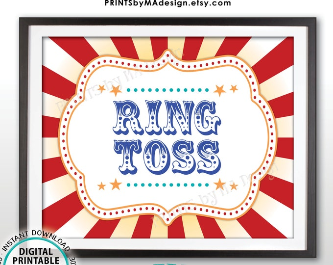 "Carnival Ring Toss Sign, Carnival Party Sign, Circus Games, Circus Party, Circus Activities, Birthday, PRINTABLE 8x10/16x20"" Game Sign <ID>"