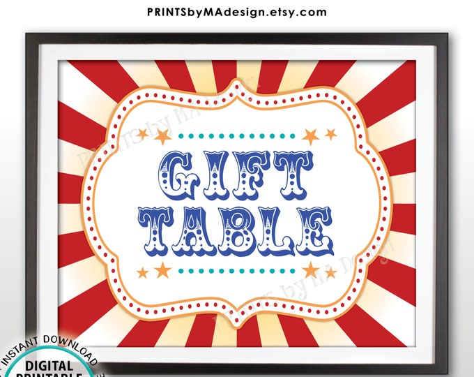 """Carnival Gift Table Sign, Gifts Carnival Theme Party Sign, Carnival Sign, Circus Theme Party, PRINTABLE 8x10/16x20"""" Gift Table Sign <ID>"""