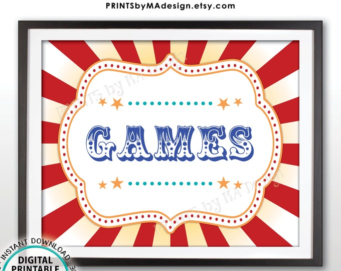 """Carnival Games Sign, Carnival Party Sign, Circus Games, Circus Party, Circus Activities, Birthday, PRINTABLE 8x10/16x20"""" Games Sign <ID>"""
