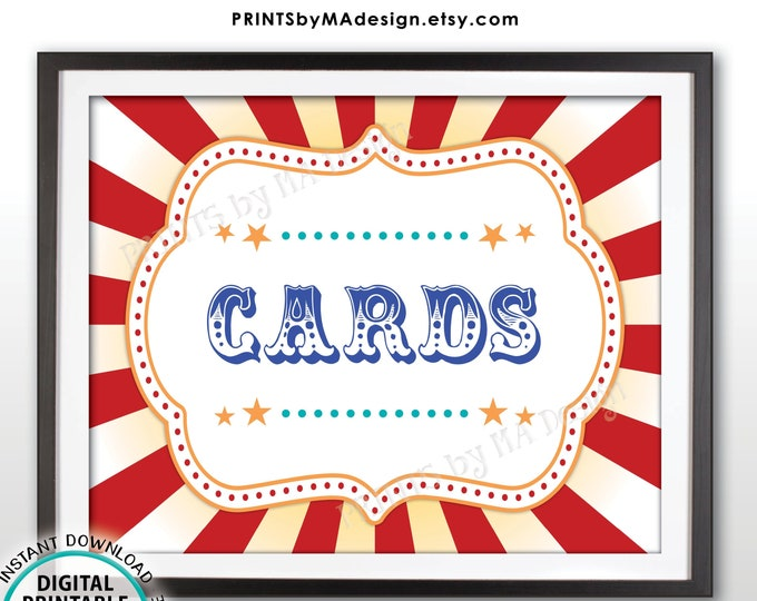 """Carnival Cards Sign, Gifts and Cards Carnival Theme Party Sign, Circus Theme Party Carnival Sign, PRINTABLE 8x10/16x20"""" Cards Sign <ID>"""