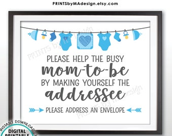 "Baby Shower Address an Envelope Sign, Help the Mom-to-Be Address an Envelope Addressee, Blue Baby Shower Decor, PRINTABLE 8x10"" Sign <ID>"
