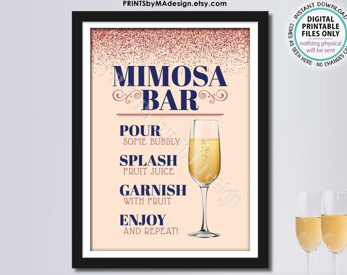 """Mimosa Bar Sign, Make Your Own Mimosa Sign, PRINTABLE 5x7"""" Sign, Navy Blue &  Rose Gold Glitter <Instant Download>"""