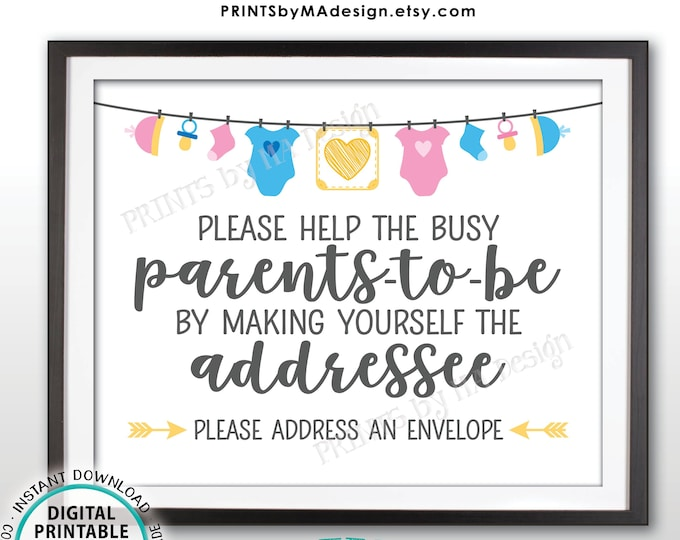 """Baby Shower Address an Envelope Sign, Help the Parents-to-Be Address an Envelope, Neutral Baby Shower Decoration, PRINTABLE 8x10"""" Sign <ID>"""
