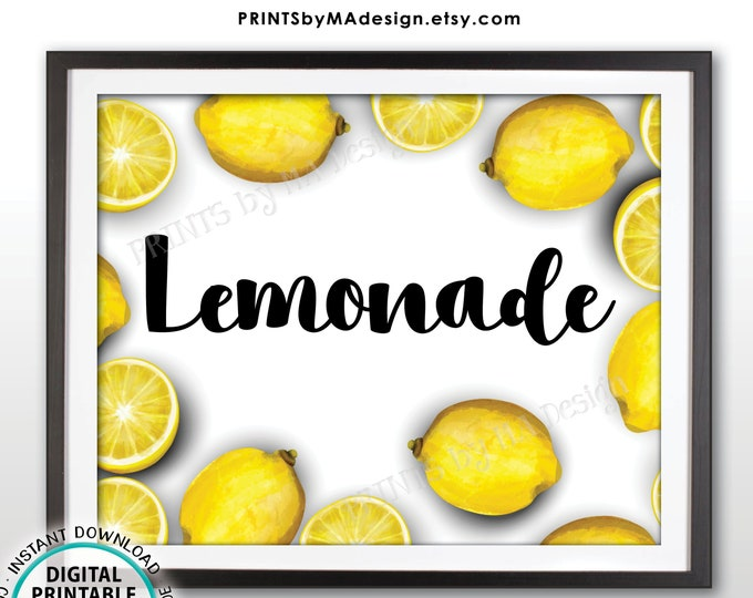 "Lemonade Sign, Refreshing Summer Drinks, PRINTABLE 8x10"" Watercolor Style Sign <ID>"
