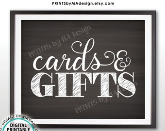 """Cards and Gifts Sign, Wedding Anniversary Birthday Party, Graduation, Baby Shower, Bridal Shower, PRINTABLE 8x10"""" Chalkboard Style Sign <ID>"""