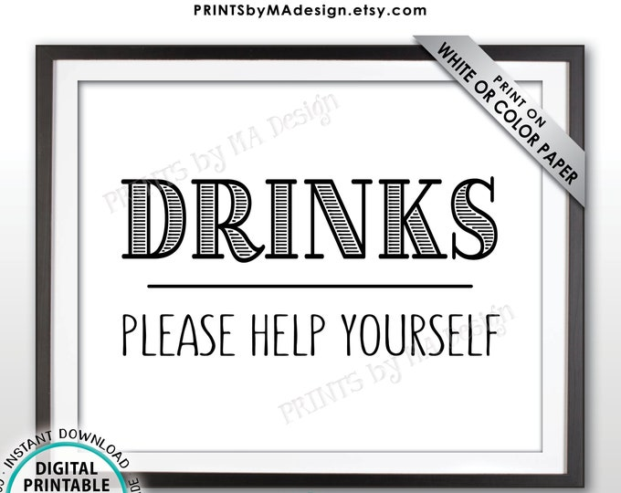 """Drinks Sign, Please Help Yourself to a Beverage Station Sign, PRINTABLE 8x10"""" Drink Sign <ID>"""